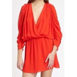 Parker Silk Surplice Mini Dress